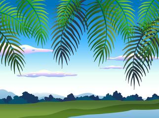 Beautiful Nature Landscape under Tree