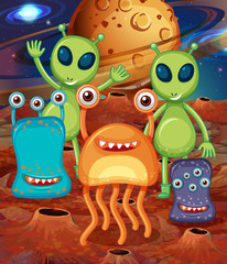Alien with Friends on Mars