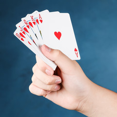 A royal straight flush playing cards poker