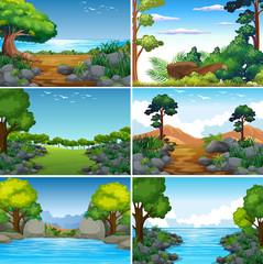 Set of Beatiful Green Nature Landscape