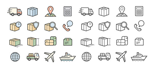 Parcel delivery icons. Fast and quality service transportation.