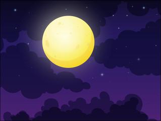 Full Moon on Cloudy Sky