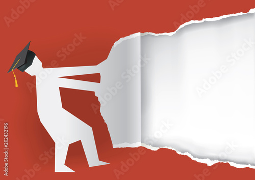 graduate torn red paper background illustration of paper silhouette