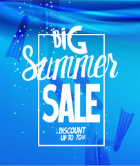 Girls in flippers in a sea water . Big summer sale poster. Vector illustration