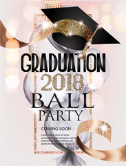 Graduation ball invitation card with gold graduation cap, frame and ribbon, air balloon covered with transparent cloth. Vector illustration