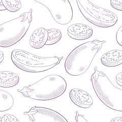 Eggplant vegetable graphic violet color seamless pattern sketch illustration vector