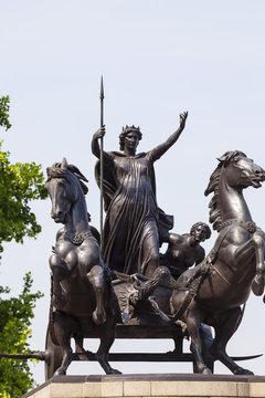 Statue of Queen Boudica near Westminster Bridge, London, United Kingdom.
