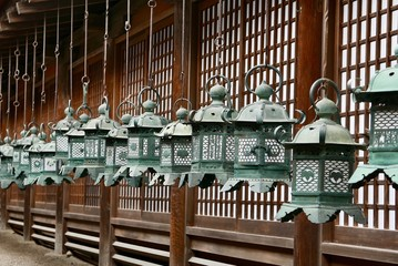 Lanterns in Nara temple in Japan