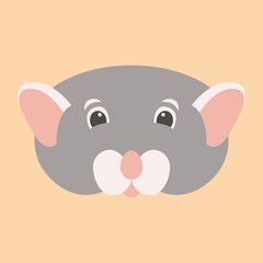 mouse face head vector illustration flat style front