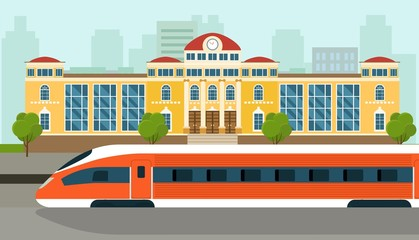 Railway station building with locomotive and passengers on platform. Vector flat illustration