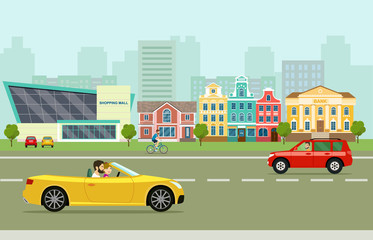 City street panoramic. City life set with cars, road and buildings. Vector flat style illustration