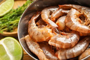 Bowl with fresh shrimps, closeup