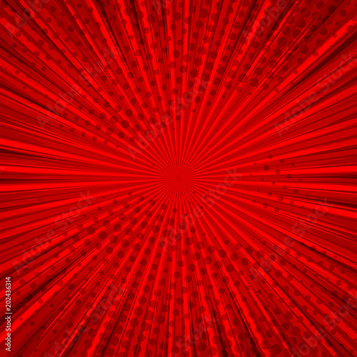 Abstract Comic Red Background For Style Pop Art Design Retro Burst Template Backdrop Light
