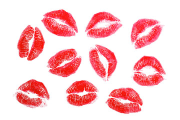 Lipstick kisses, isolated on white