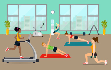Empty gym with exercise equipment. Girls pick up a dumbbell and do cardio in the gym. Vector flat style illustration