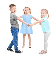 Cute little children playing on white background