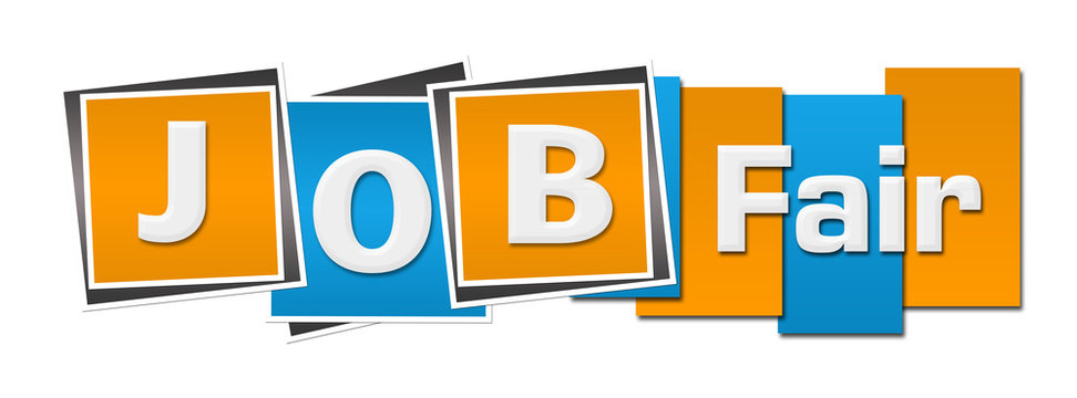 Job Fair  Blue Orange Stripes Squares