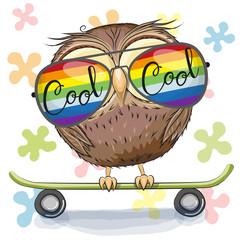 Cute Owl with sun glasses on a skateboard