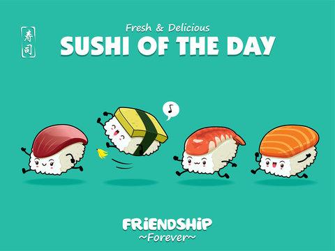 Vintage Japanese food poster design with vector Sake, Tamago, Ebi, Hokkigai, sushi characters. Chinese word means sushi.