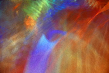 Colorful light reflections on a wall