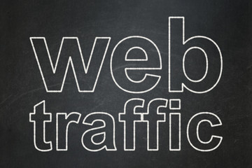 Web development concept: text Web Traffic on Black chalkboard background