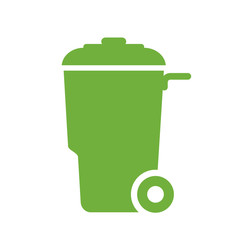 Green wheely trash container vector icon