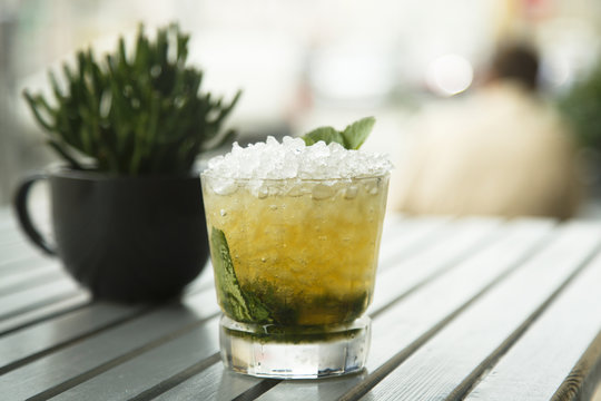 Classic mint julep cocktail, outdoors