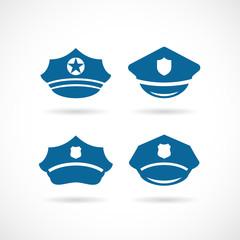 Policeman uniform peaked cap vector icon