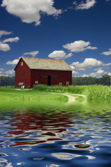 Barn and River