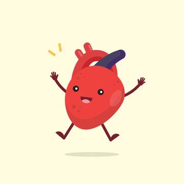 Happy cute heart organ character, healthy concept, vector illustration.
