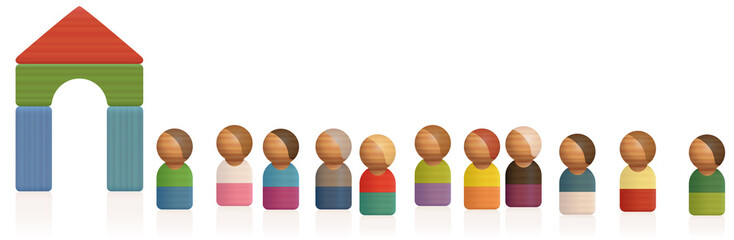 Queue, waiting line. Wooden toy figures waiting in a row for admittance, passage, entry, acceptance, asylum, access - isolated vector illustration on white background.