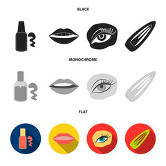 Nail polish, tinted eyelashes, lips with lipstick, hair clip.Makeup set collection icons in black, flat, monochrome style vector symbol stock illustration web.