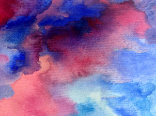 Watercolor abstract bright colorful textural background handmade . Painting of clouds and sky during sunset .  Modern sky scape.