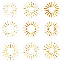 9 style of Sunburst, at white background