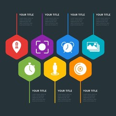 Flat geometric location, video, photos, time infographic steps template with 7 options for presentations, advertising, annual reports