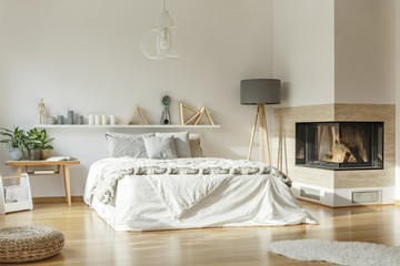Spacious bedroom interior with fireplace