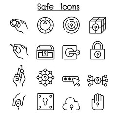 Key and lock system icon set in thin line style