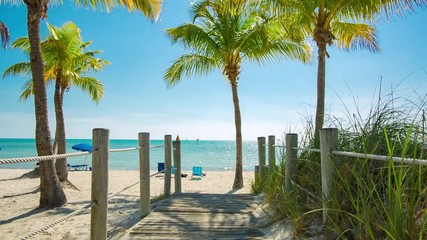 Fototapete - Footbridge to the Smathers beach - Key West, Florida. Raw video source.