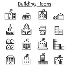 Basic building icon set in thin line style