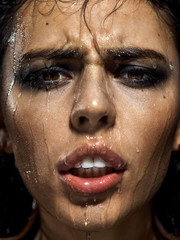 Emotion girl in the shower under water
