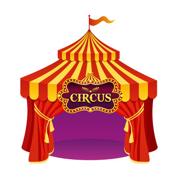 Vector illustration of bright colors circus tent with beautiful emblem isolated on white background.