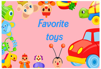 Favorite Toys Collection around Pink Background