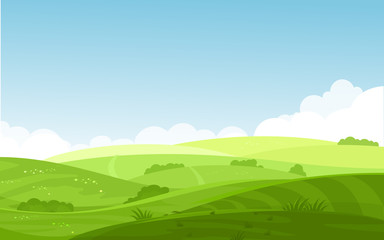 Poster de jardin Piscine Vector illustration of beautiful fields landscape with a dawn, green hills, bright color blue sky, background in flat cartoon style.