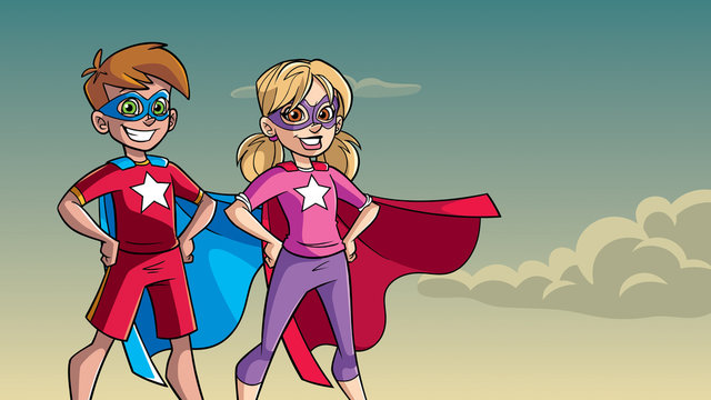 Illustration of superhero children smiling happy while wearing capes against sky background for copy space.