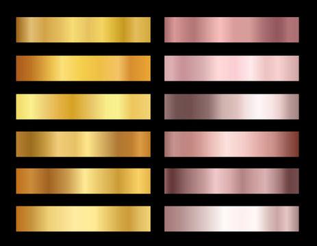 Vector illustration set of gold rose and gold foil texture backgrounds. Elegant, shiny gradients collection for border, frame, ribbon, pink golden label design.