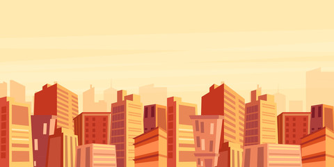 Vector illustration of beautiful big city view with skyscrapers in sunset time, cityscape, modern city concept in flat cartoon style.