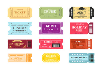 Vector illustration collection of colorful tickets with place for text. Tickets to cinema, theatre and circus in retro design, flat cartoon style.