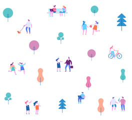 Background people characters. Outdoor activity. Flat vector illustration.