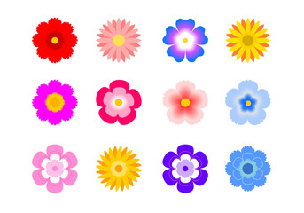 Set of flat icon flower icons in silhouette isolated on white. for stickers, labels, tags, gift wrapping paper.
