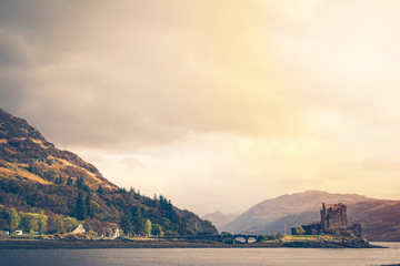 The Eilean Donan Castle, Highland, Scotland At Sunrise